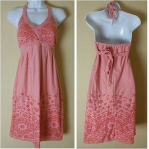 Athleta Peach Cotton Knit Bra-Top Halter Dress--S